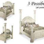 Aico Monte Carlo Silver Pearl King High Low Poster Bed