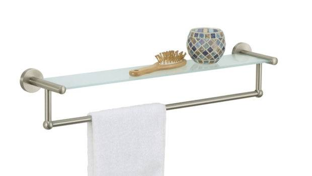 All Wall Mounted Satin Nickel Glass Shelf Towel Bar Space Saver Ebay