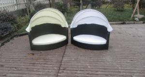 All Weather Garden Black Wicker Pet Bed White Canopy Supplier