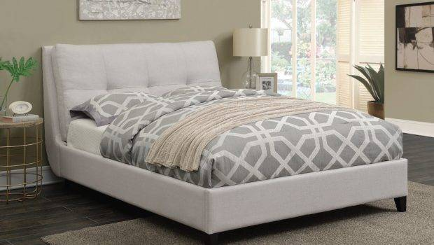 Amador Ivory Fabric Queen Platform Bed Tufted