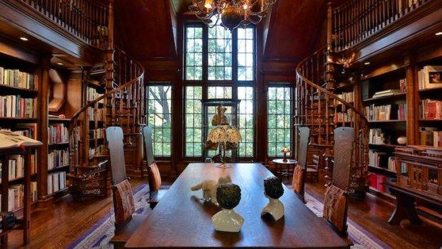 Amazing Double Spiral Staircase Library Home Sweet