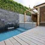 Amazing Home Designs Small Swimming Pool Wooden Floor Stony Wall Blue