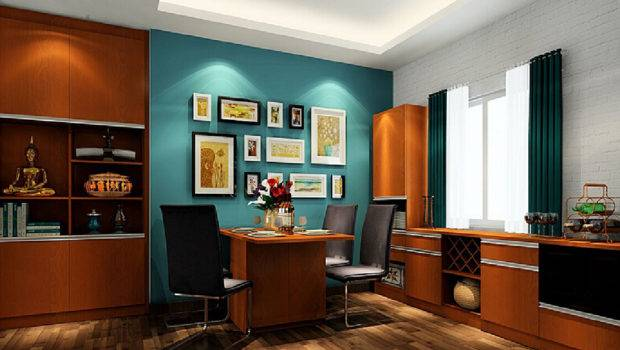 American Dining Room Blue Wall Brown Furniture Interior Design