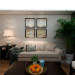 American Style Apartment Living Room Design Renderings