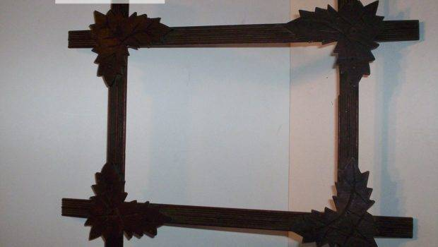 Antique Adirondack Frame Wooden Leaf Corners Hand Incised Orig