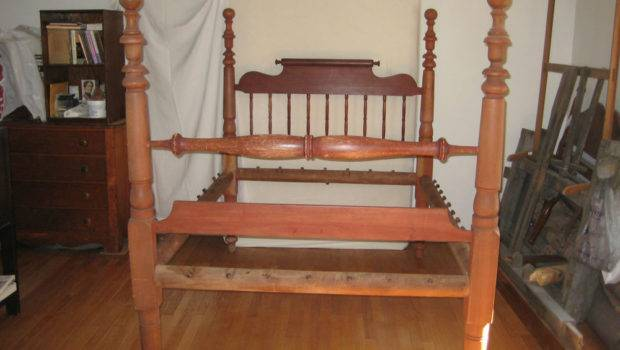 Antique Circa Tall Post Rope Bed Old Red Paint Ebay