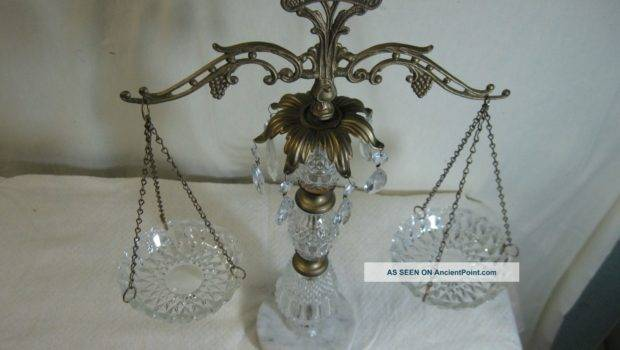 Antique Decorative Scale Ornate Cut Glass Marble Base Prisms Other