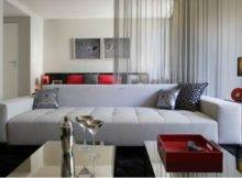 Apartment Studio Decorating Idea Grey Sofa Red Couches