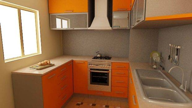 Appealing Orange Kitchen Cabinets Small Spaces Furnished