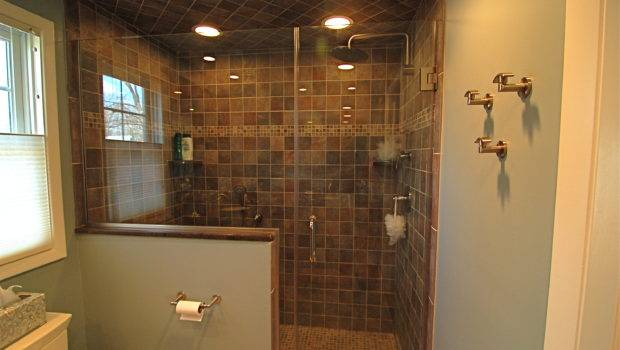 Appealing Walk Shower Ideas Round Ceiling Lamps Wall Tile