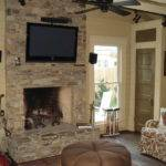 Architecture Stack Stone Wall Fireplace Television Set Hang