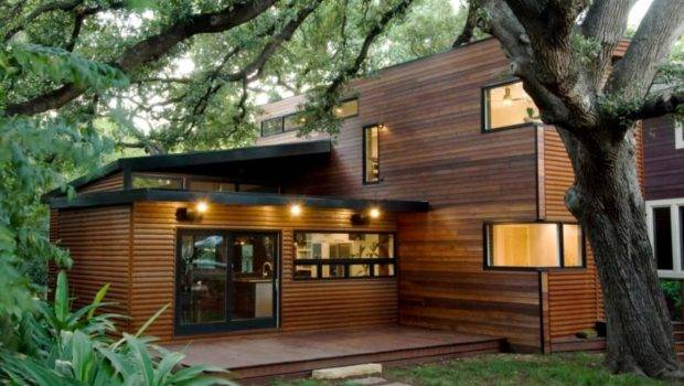 Architecture Stunning Green House Design Wooden Wall
