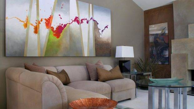 Art Interiors Intriquing Large Scale Abstract Living Room