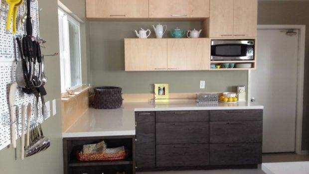 Awesome Grey Wall Kitchen Black Island Wooden Cabinet