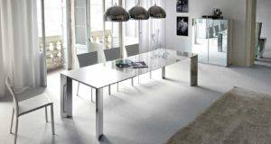 Awesome Modern Dining Room Glass Table Furnished
