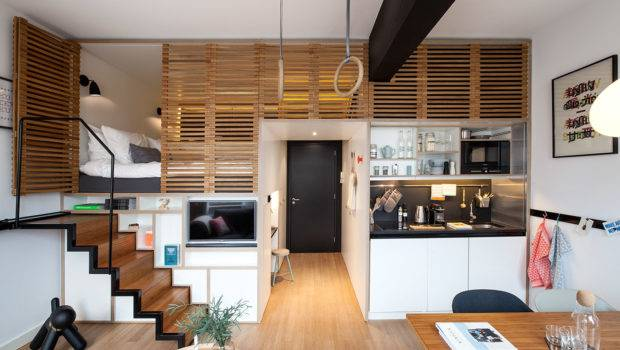 Awesome Small Studio Apartments Lofted Beds