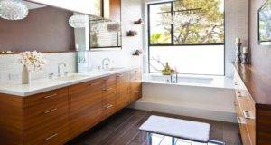 Bathroom Design Ideas Wooden Vanity Large Mirror