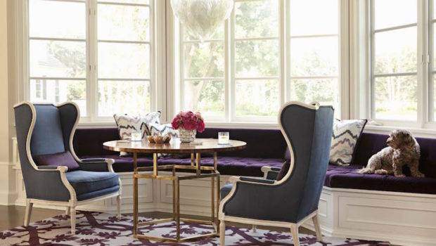 Bay Window Seat Curved Blue Wingback Chairs