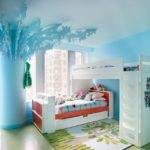 Beautiful Blue Bohemian Apartment Decorating Ideas White Bunk Bed
