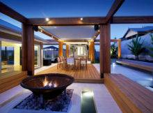 Beautiful Contemporary Backyard Entertaining Space Pool Area