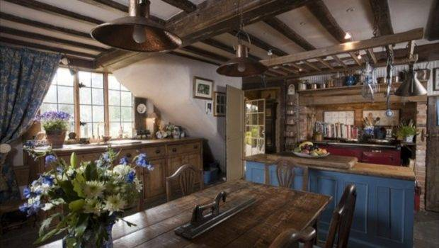Beautiful Country Kitchen Red Aga Stove Brick Blue Cabinet