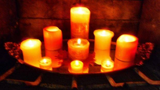 Beautiful Fall Candles Fireplace Rounded Tray Added