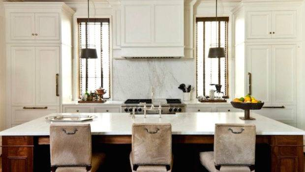 Beautiful Kitchen Features Stained Island Topped Honed