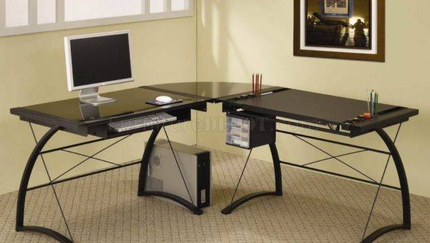 Beautiful Office Desk Glass Top Frosted Computer Also