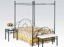Bed Frame Black Metal Sunburst Canopy