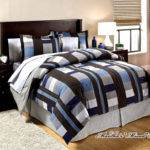 Bedding Blue Brown Plaid Blocks Men Masculine Comforter Sheet Set