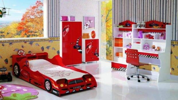 Bedroom Amazing Red Car Kids Bunk Bed Elegant White Study Table