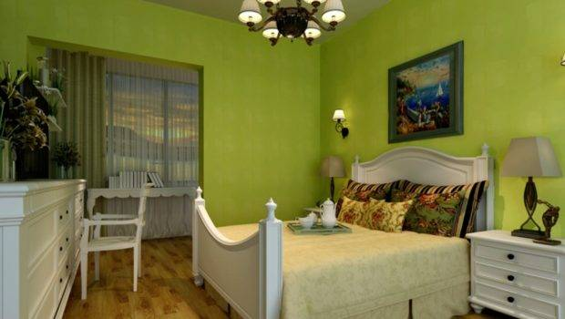 Bedroom Green Walls White Furniture Interior Design