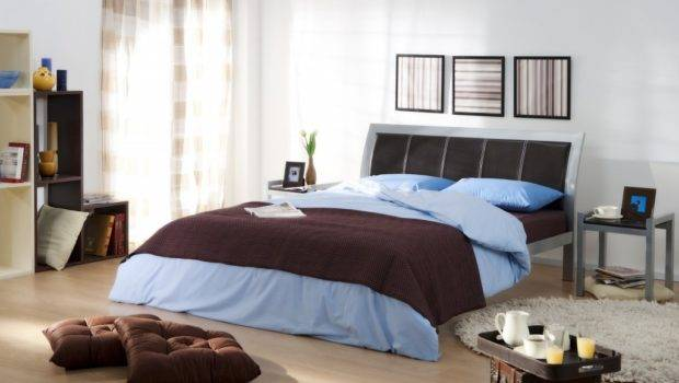 Bedroom Ideas Guys Brown Color Blue Bed Cover Idea