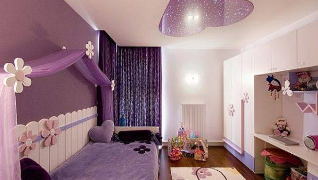 Bedroom Purple Wall Curtain Daybed Wooden Laminate Floor Canopy Teen