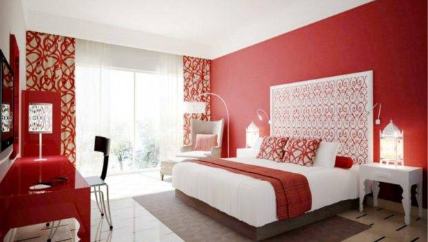 Bedroom Red Color Design Breathtaking Modern