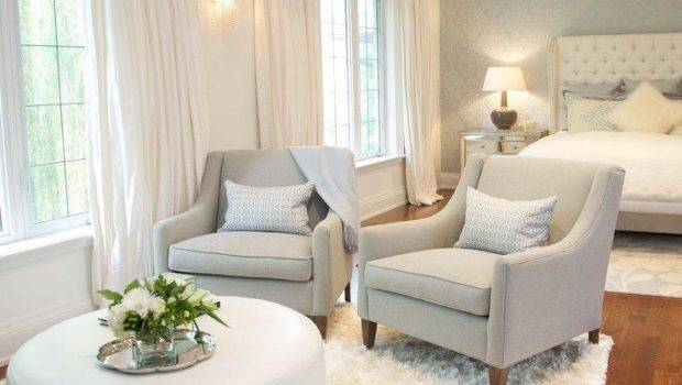 Bedroom Sitting Area Gray Chairs White Ottoman
