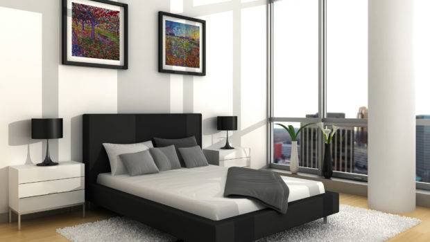 Bedroom Small Ideas Men Black Low Bed Gray Smooth Rug