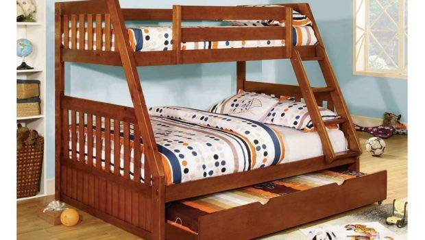 Beds Twin Over Canberra Oak Mission Style Angled Bunk Bed Trundle