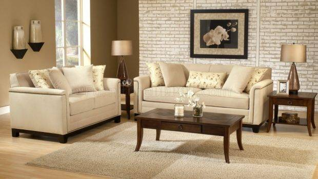 Beige Fabric Contemporary Living Room Sofa Loveseat Set Chfs