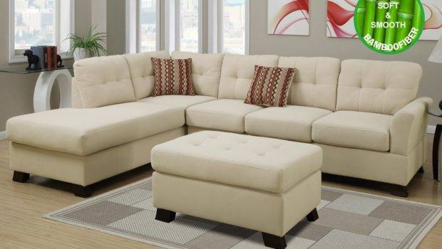 Beige Fabric Sectional Sofa Ottoman Steal