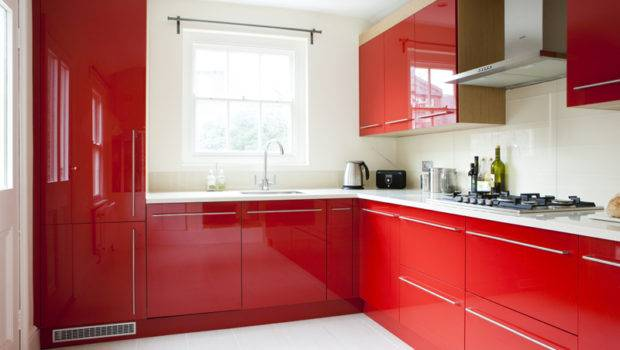 Bespoke Red Kitchen Oak Wood Finish Amberth Interior Design