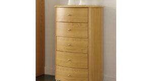 Birlea Aztec Drawer Narrow Chest Beech Gloss Bedroom Furniture