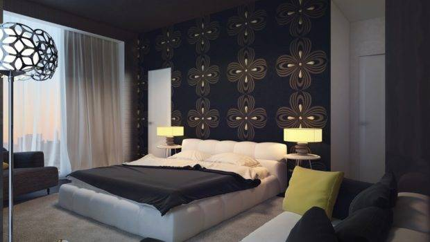 Black Bedroom Feature Wall Interior Design Ideas
