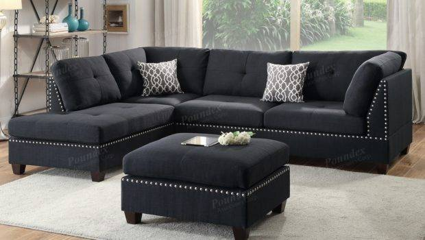 Black Fabric Sectional Sofa Ottoman Steal
