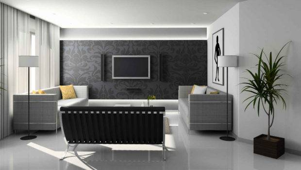 Black Grey Pattern Style Living Room Theme White Paint