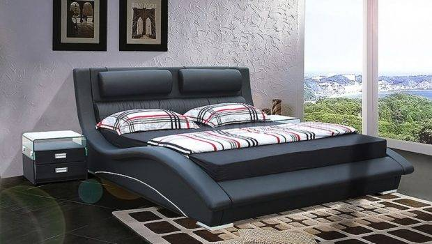 Black Leatherette Modern Stylish Bed Padded Headboard Shbs