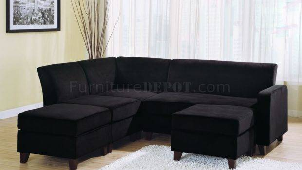 Black Microfiber Stylish Sectional Sofa Wooden Legs