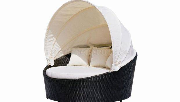 Black Modern Outdoor Canopy Bed Beige Cushions Vgout