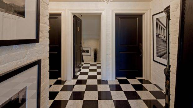 Black White Marble Floor Transitional Entrance Foyer