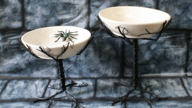 Black Wrought Iron Metal Twig Tree Branch Halloween Serving Bowls New